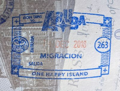 Aruba immigration stamp