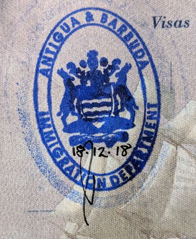 Immigration stamp for Antigua and Barbuda