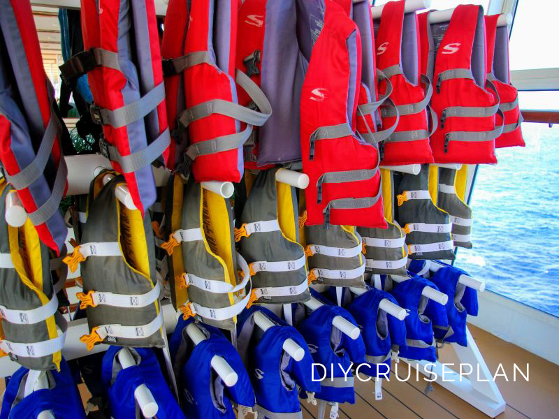 Children's life jackets on a rack