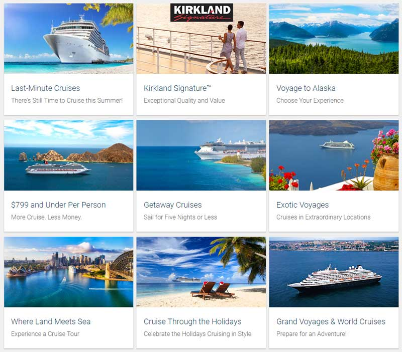 Costco Travel Cruises Categories Grid