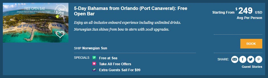 Norwegian cruise line offer Bahamas with cruise costs