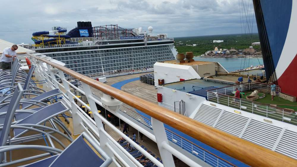 Harmony of the Seas, Carnival Victory and Norwegian Escape in Puerto Costa Maya, Mexico (c) 2017 Alyce Meserve