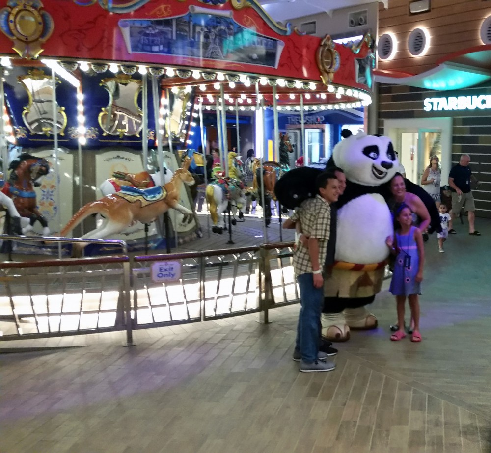 Harmony of the Seas   Dreamworks characters, Carousel and Starbucks on the Board Walk (c) 2017 Alyce Meserve