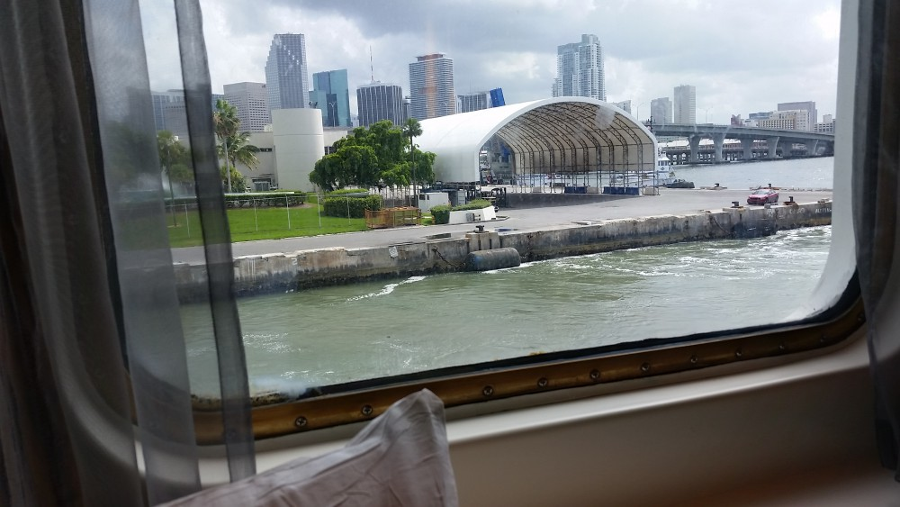 Empress of the Seas ocean view cabin view of Miami (c) 2016 Alyce Meserve