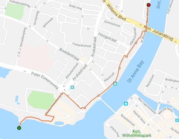 Walking map of downtown Curacao