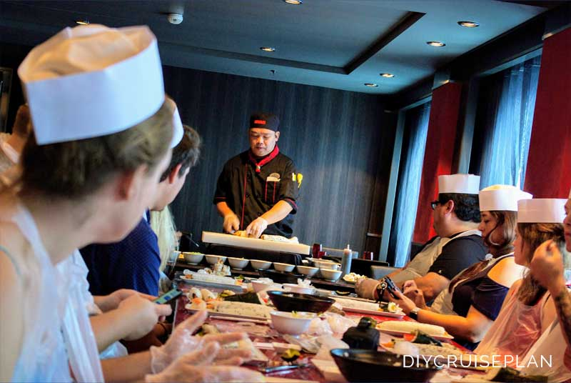 Sushi Rolling Class on Royal Caribbean Oasis of the Seas Extra Cost Activity