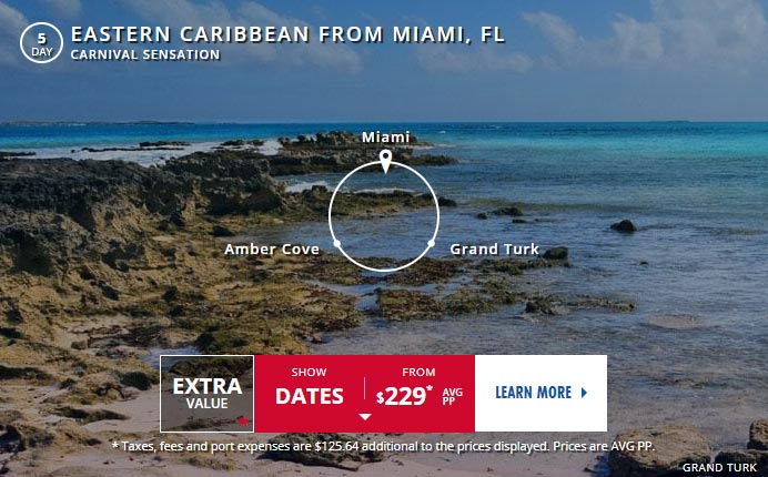 Carnival cruise line offer eastern caribbean with cruise costs