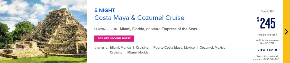 Royal Caribbean cruise line offer western caribbean with cruise costs