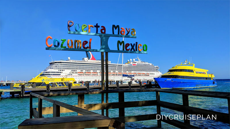 Puerta Maya, Cozumel, Mexico sign in Carnival cruise port